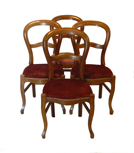 Set of Four French Balloon Back Dining Chairs