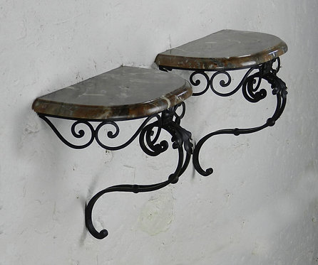 Pair of French Wall-Mounted Consoles/Wall Brackets