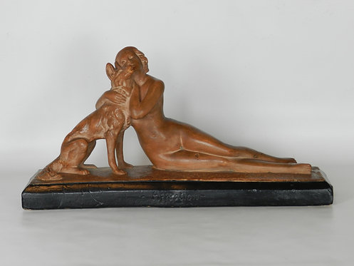 Art Deco Sculpture 'Affection' by Bacci