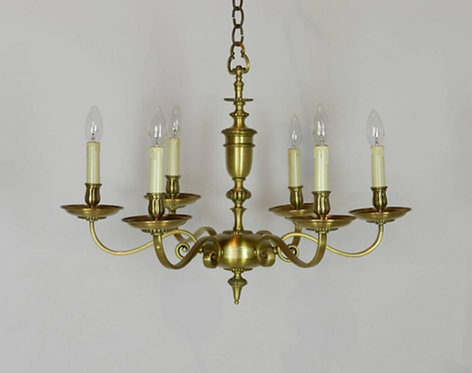 French Brass Six Light Chandelier