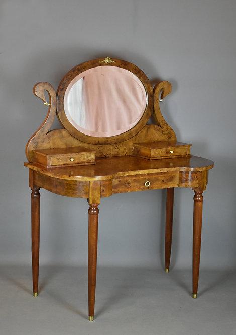 French Burr Walnut Swan Dressing Table