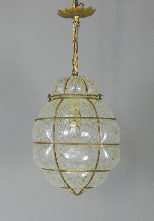 Hand-blown Murano Etched Glass Wire Caged Lantern