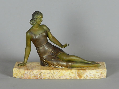 French Art Deco Sculpture Figurine by S Melani