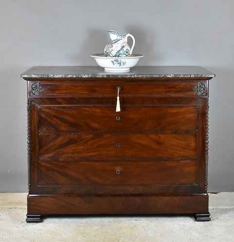 19th Century French Mahogany Commode Chest of Drawers