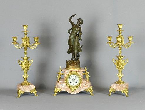 French Art Nouveau Clock Set 'Poésie' (Ch Ruchot) by Japy Freres