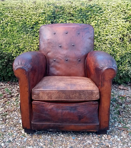 French Art Deco Leather Club Armchair
