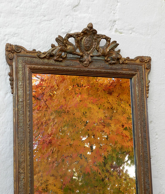 Large French Antique Gilt Mirror with Dragon Crest