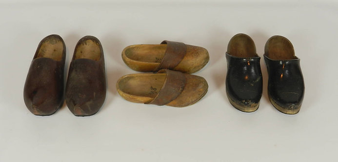 Three Pairs of French Wooden Clogs/Sabots