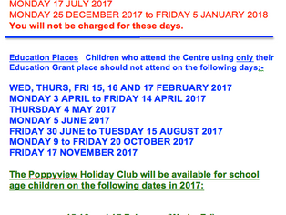 Poppyview Closure Dates
