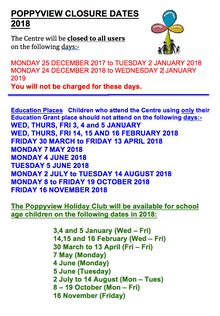 Closure dates 2018