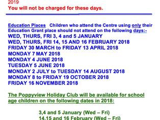 Closure dates 2018