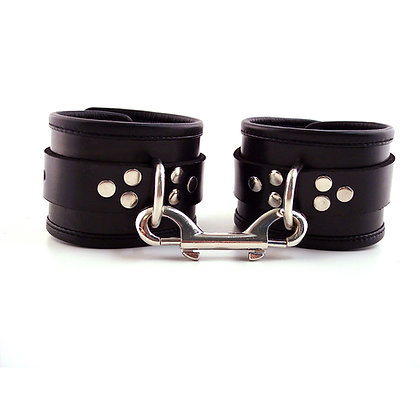 Leather Ankle Cuffs with Piping