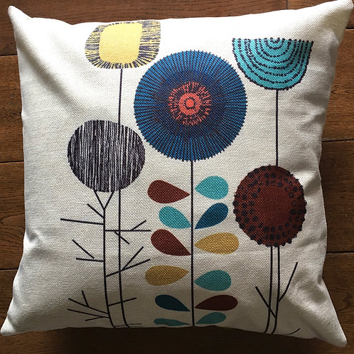 'Mixed Flowers' Cushion with duck feather inner - 46cm x 46cm