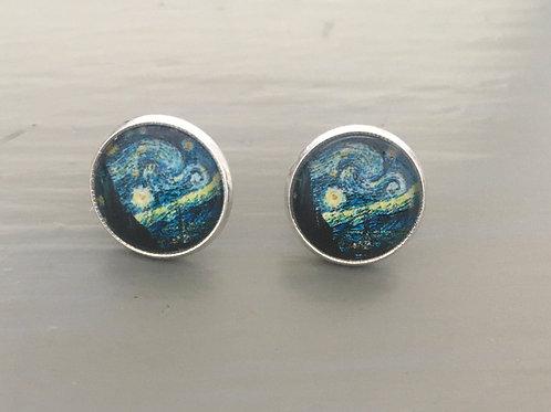 Van Gogh Silver Plated Earrings (Butterfly backs) - 'Starry Night'