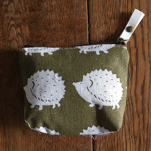"Small Purse/Make Up Bag 4"" x 4"" (Hedgehogs)"