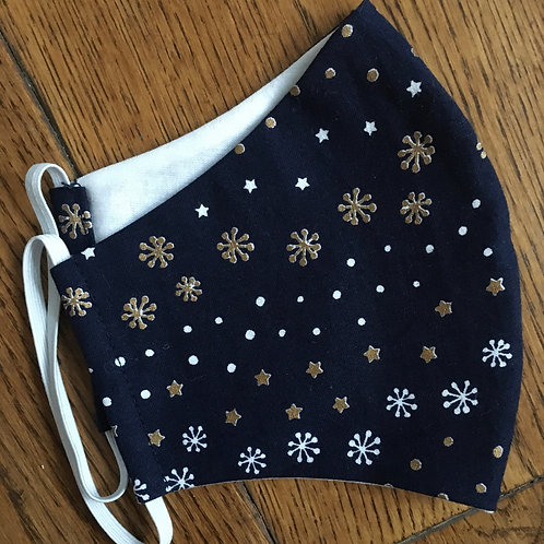 Covid mask - Blue with Snowflakes & Stars