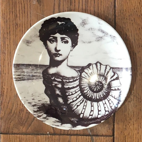 "Fornasetti Inspired 6"" Plate - Ammonite Lady"