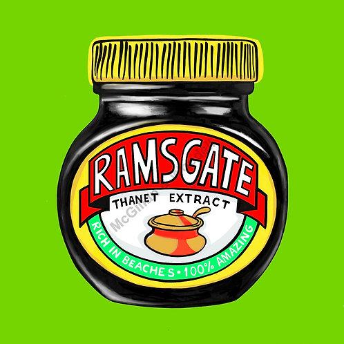 Ramsgate Marmite Print -  20cm x 20cm - Lime