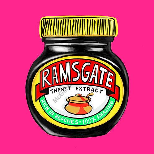 Ramsgate Marmite Print - 20cm x 20cm - Shocking Pink