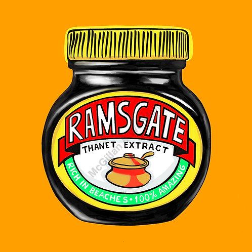 Ramsgate Marmite Print - 20cm x 20cm - Tangerine