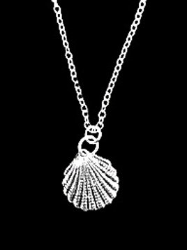 "Tarrant Silver plated Shell necklace with 16"" chain"