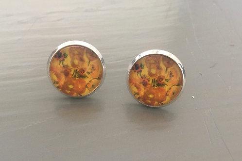 Van Gogh Silver Plated Earrings (Butterfly backs) - Sunflowers