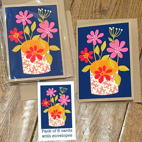 Flowers in a vase by Lizzie Fright - 6 Notelets with envelopes