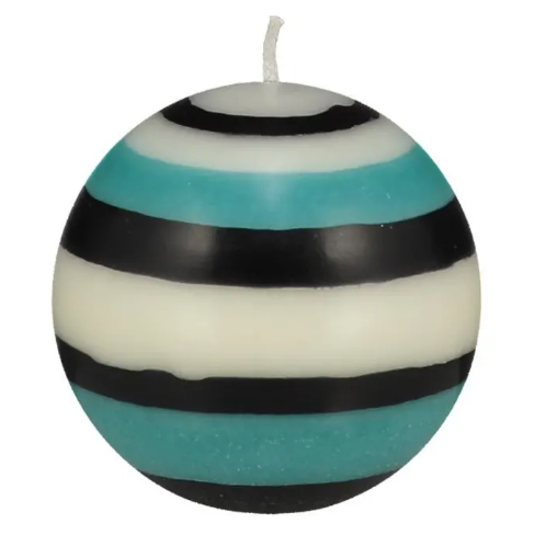 British Standard Fairtrade Turquoise/Black/White Candle