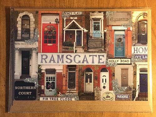 "Ramsgate Doors Christmas Card by Xanthe Pitt (7"" x 5"")"