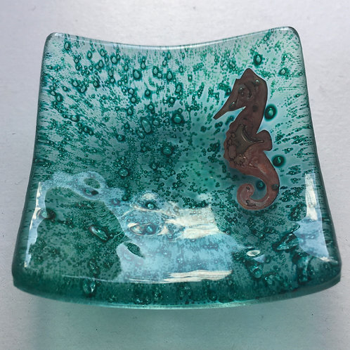 Jo Downs Earring Dish - Dark Green with Seahorse