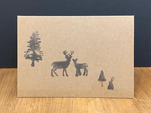 6 x Scandi Woodland Creatures Kraft Cards (A6)