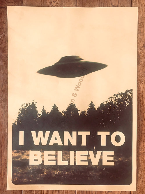 'I want to believe' Print 51cm x 31cm