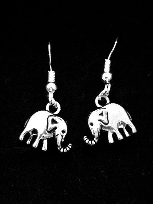 Antique Silver Elephant Hook Earrings