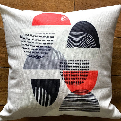 Black/Orange Abstract Cushion with duck feather inner 46cm x 46cm