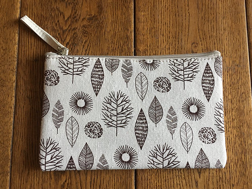 "Make up Bag - 9"" x 6"" - Cream with leaves & trees"