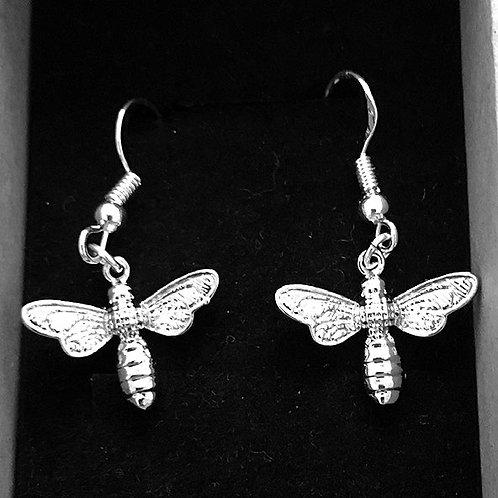 Silver Bee Hook Earrings
