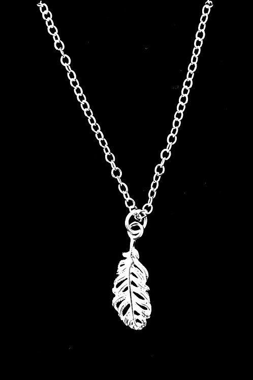 """Tarrant Silver plated feather necklace with 16"""" chain"""