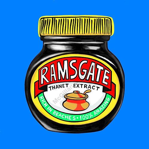Ramsgate Marmite Print - 20cm x 20cm - Blue