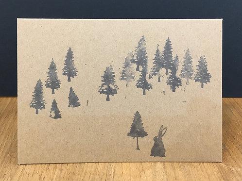 6 x Scandi Hare & Trees Kraft Cards (A6)