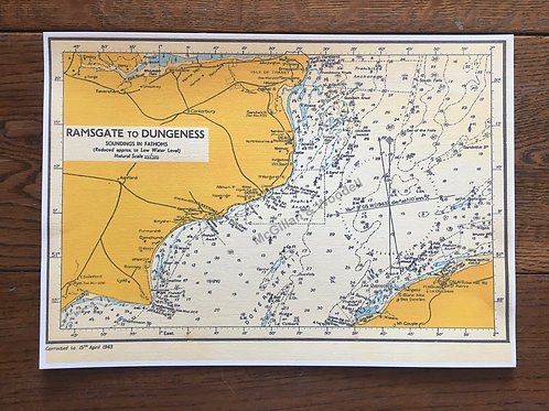 Ramsgate to Dungeness Soundings map 1943 - A4 print