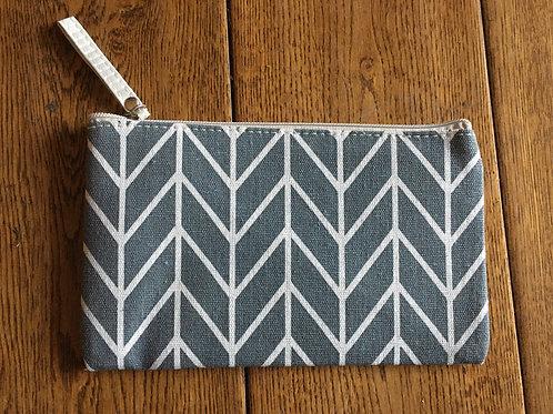 "Make up Bag - 9"" x 6"" - Grey with Stripes"