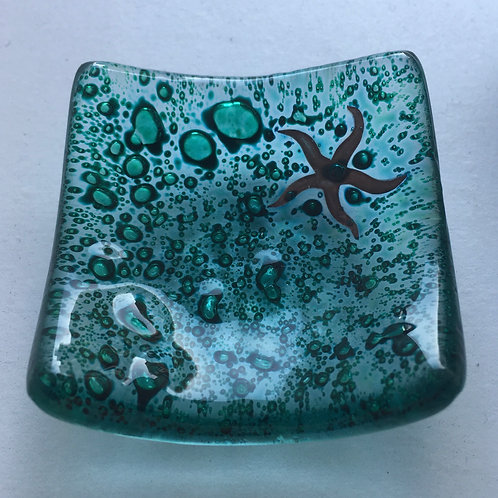 Jo Downs Earring Dish - Dark Green with Starfish