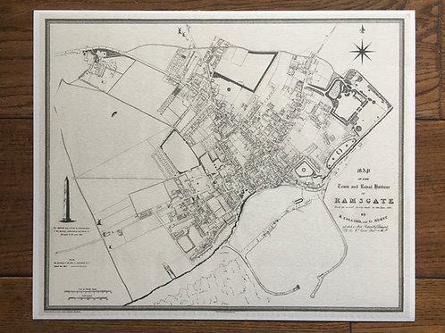 1822 Ramsgate Harbour Map print  - 355 x 290mm