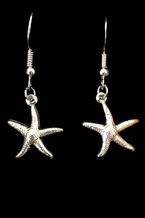 Starfish Earrings with silver plated fixings
