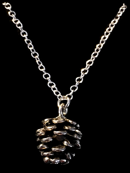 "Tarrant Pine Cone Necklace with silver plated 16"" chain"