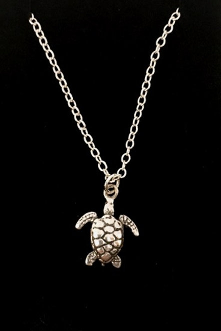 "Tarrant Silver plated Sea Turtle with 16"" chain"