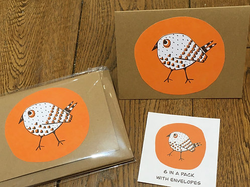 Bird by Lizzie Fright - pack of 6 Notelets with envelopes