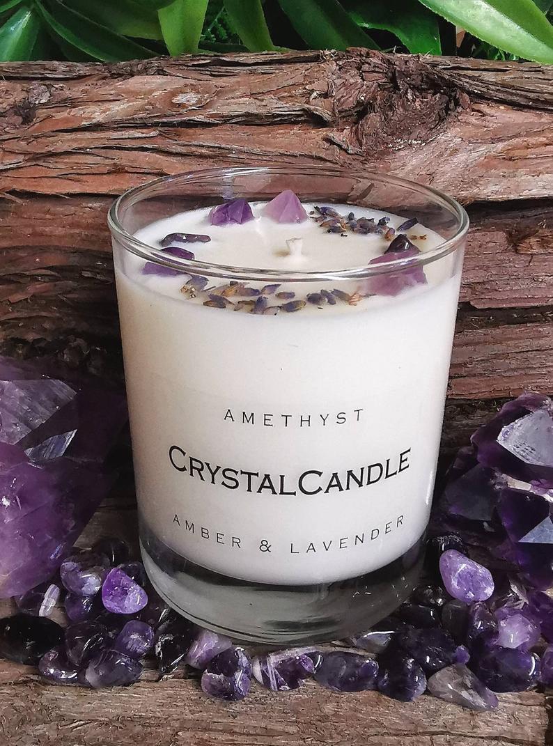 Crystal Amethyst Destress Candle