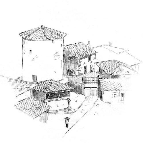 Série : construire efficacement un dessin : dessiner un village