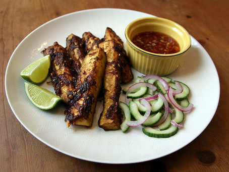 Courgette Satay Batons with Sweet Chilli Sauce and Pickled Cucumber and Onion